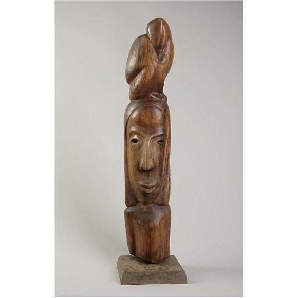 אישה וינשוף, עץ, 1948.jpg